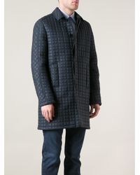 Valentino Blue Quilted Overcoat for men