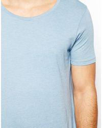 ASOS - Blue Tshirt with Scoop Neck for Men - Lyst