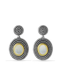 David Yurman - Metallic Cable Coil Doubledrop Earrings with Moon Quartz and Gold - Lyst