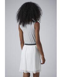TOPSHOP - Gray Sports Pleated Mini Dress - Lyst