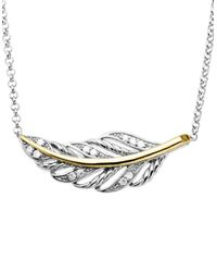 Lord & Taylor | Metallic Diamond Accented Feather Necklace In Sterling Silver With 14k Yellow Gold | Lyst
