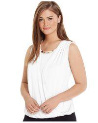 Calvin Klein | White Plus Size Sleeveless Faux-wrap Top | Lyst