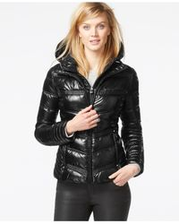 Laundry by Shelli Segal | Black Hooded Metallic Puffer Coat | Lyst