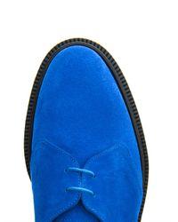 Adieu Blue Suede Derby Shoes for men