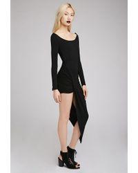 Forever 21 - Black Draped Asymmetrical Hem Dress - Lyst