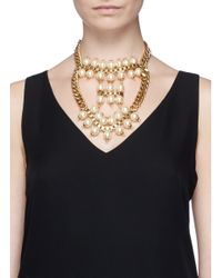 Ela Stone | White 'Celia' Box Chain Faux Pearl Tier Necklace | Lyst