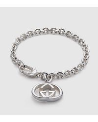 Gucci | Metallic Bracelet With Interlocking G Motif Charm | Lyst