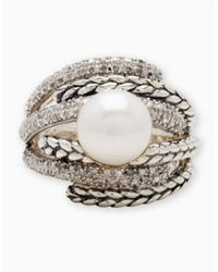 Lord & Taylor | Metallic Sterling Silver Pearl Ring With Diamond Accents | Lyst