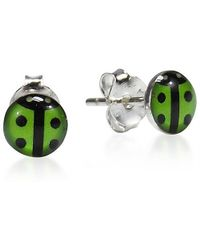 Aeravida | Bubbly Lady Bug Green Enamel .925 Sterling Silver Stud Earrings | Lyst
