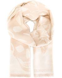 Alexander McQueen - Natural Floral Skull Knit Scarf - Lyst