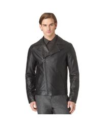 Calvin Klein - Black Perforated Slimfit Leather Jacket for Men - Lyst