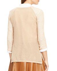 Ralph Lauren - Natural Lauren Petites Linen-blend Mesh Sweater - Lyst
