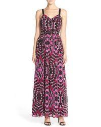 Adelyn Rae - Black Print Woven Maxi Dress - Lyst