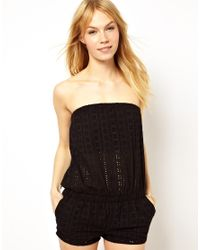 Traffic People - Black A Naughty Day Broderie Anglaise Playsuit - Lyst