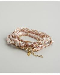 Sogoli | Pink And Peach Woven Fabric And Chain Convertible Wrap Bracelet | Lyst