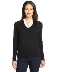 Nordstrom Collection Black Double V-neck Cashmere Sweater
