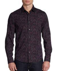 Vince - Purple Floral Print Cotton Shirt for Men - Lyst