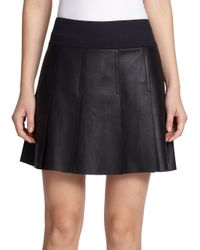 Vince | Black Pleated Leather Skirt | Lyst