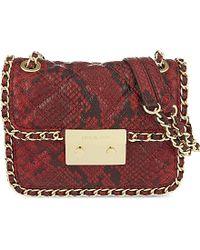 MICHAEL Michael Kors | Red Carine Medium Snake-effect Leather Shoulder Bag | Lyst