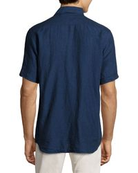 Neiman Marcus | Blue Short-sleeve Linen Chambray Shirt for Men | Lyst