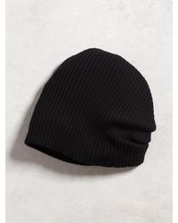 John Varvatos | Black Double Layer Rib Knit Beanie for Men | Lyst