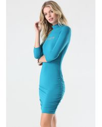 Bebe | Blue Logo Mock Neck Ruched Dress | Lyst