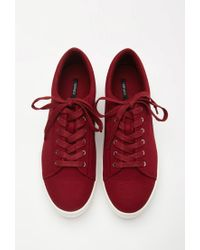 Forever 21 Red Canvas Flatform Sneakers