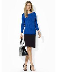 Lauren by Ralph Lauren Blue Cableknit Boatneck Sweater