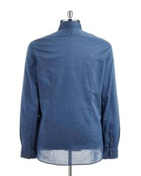 John Varvatos Blue Textured Sportshirt for men