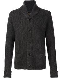 RRL - Gray Ribbed Shawl Collar Cardigan for Men - Lyst
