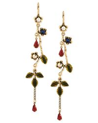 Betsey Johnson - Metallic Goldtone Flower Vine Linear Earrings - Lyst