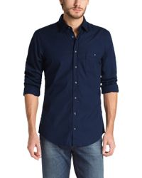 BOSS Orange Blue Slim Fit Casual Shirt 'Eslime' for men