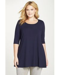 Eileen Fisher | Blue Scoop Neck Jersey Tunic | Lyst