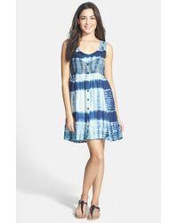 Volcom - Blue 'freudian Slip' Tie Dye Babydoll Dress - Lyst