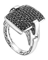John Hardy - Metallic Classic Chain Silver Lava Black Sapphire Ring Size 7 for Men - Lyst