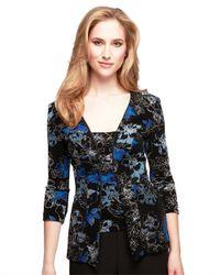 Alex Evenings - Blue Three Quarter Floral Print Jacket And Tank Set - Lyst