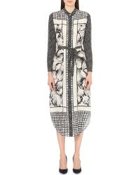 Saloni - Gray Molly Foliage-print Silk Dress - Lyst