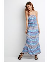 Forever 21 | Blue Strapless Print Maxi Dress | Lyst