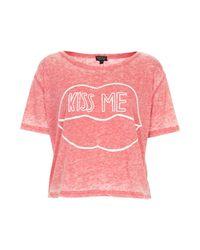 TOPSHOP - Pink Kiss Me Boxy Burnout Tee - Lyst