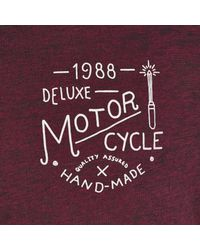 River Island Dark Red Deluxe Motorcycle Print T-Shirt for men