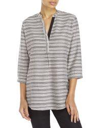 Antilia Femme - Gray Split Neck Striped Print Top - Lyst