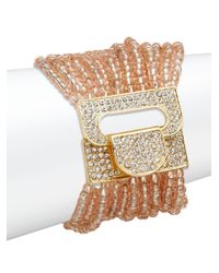 Saks Fifth Avenue | Metallic Beaded Stretch Bracelet/orange & Goldtone | Lyst