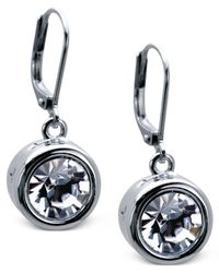 T Tahari | Metallic Silver-tone Bezel Crystal Signature Drop Earrings | Lyst