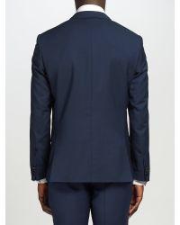CK Calvin Klein Blue Plain Weave Wool Suit Jacket for men