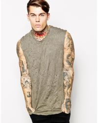 ASOS Natural Sleeveless T-Shirt With Dropped Armhole And Crinkle Jersey for men
