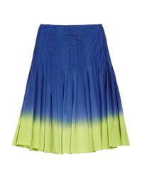 Boutique Moschino Green Pleated Dip Dyed Cotton and Silk Blend Skirt