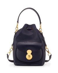 Ralph Lauren Blue Nappa Ricky Drawstring Bag