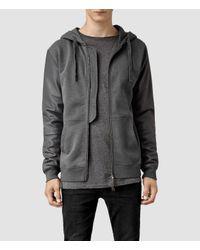 AllSaints Gray Lycan Zip Hoody for men
