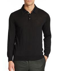 Saks Fifth Avenue | Black Merino Wool Long-sleeved Polo for Men | Lyst