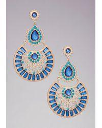 Bebe - Blue Multidrop Crystal Earrings - Lyst